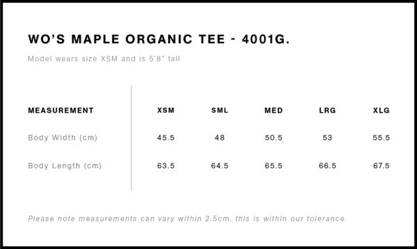 AS Colour Womens Maple Organic Tee Size Chart